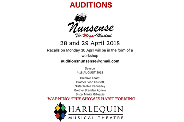 Nunsense Auditions 28 – 29 April 2018
